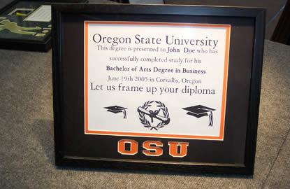 Framed OSU diploma